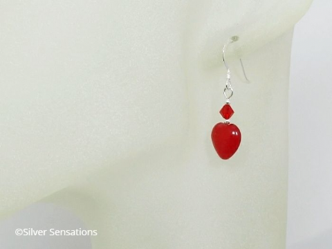 Red Jade Hearts, Swarovski Crystals & Sterling Silver Earrings